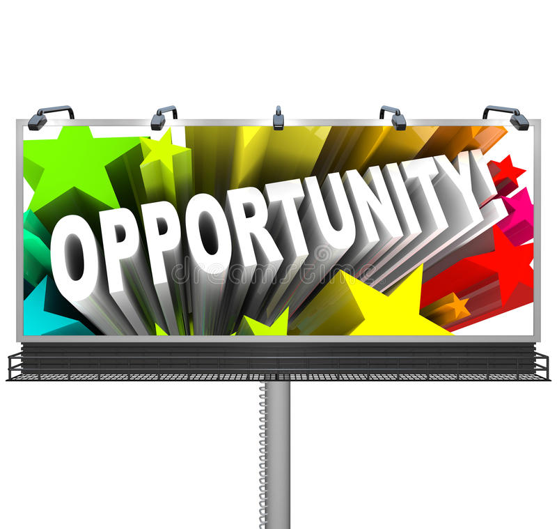 Gelegenheits-Zeichen-Werbungs-mögliche Möglichkeit des Wachstums stock abbildung
