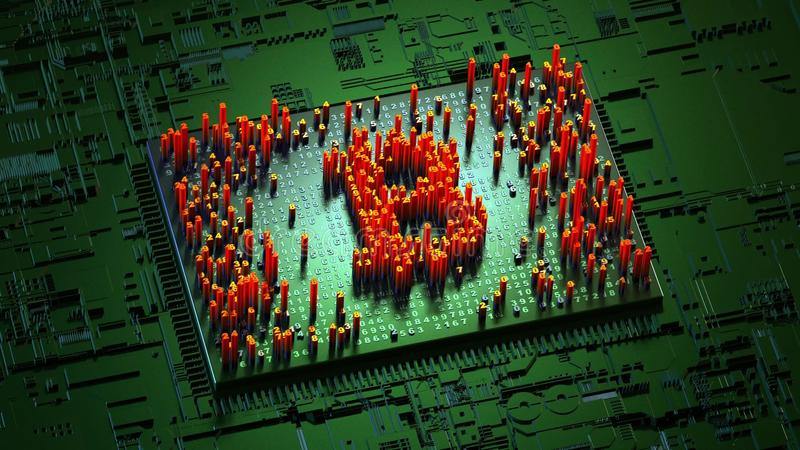 Gelegentliche Bewegung der reinen Zahlen in Form von Münzen bitcoin stockfoto