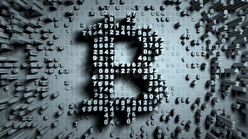 Gelegentliche Bewegung der reinen Zahlen in Form von Münzen bitcoin stockbild