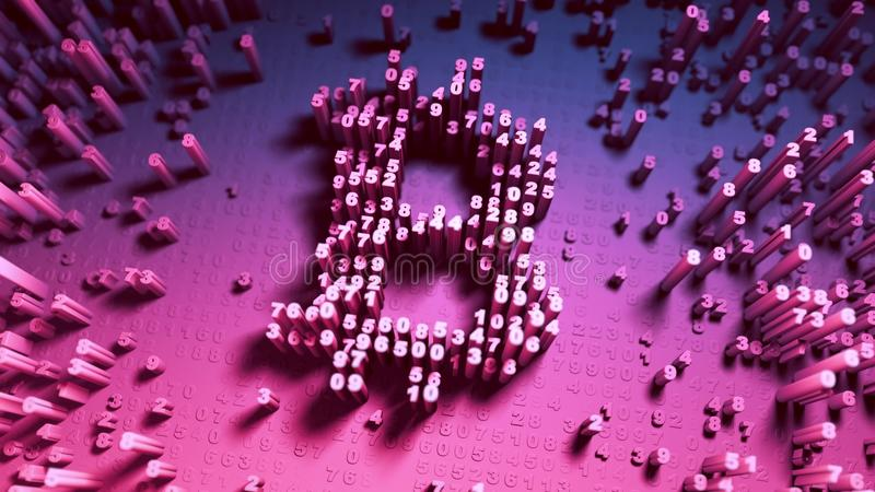 Gelegentliche Bewegung der reinen Zahlen in Form von Münzen bitcoin lizenzfreies stockbild