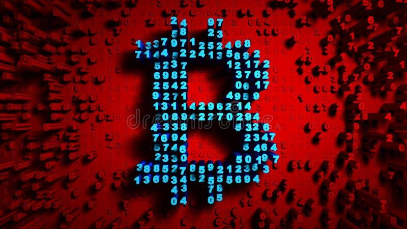 Gelegentliche Bewegung der reinen Zahlen in Form von Münzen bitcoin, rote Farbe stockfotografie