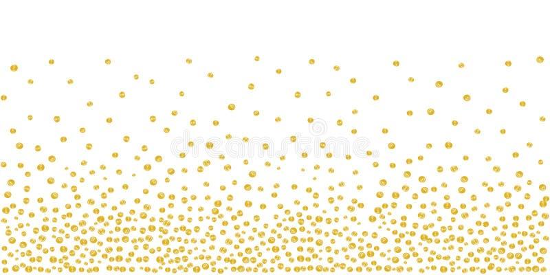Gelegentlicher fallender goldener Dots Background stock abbildung
