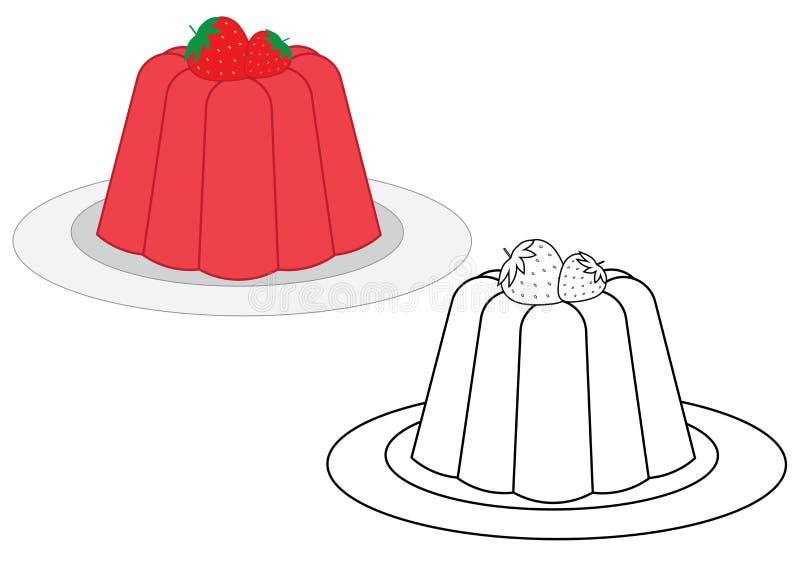 Gelei met aardbeien, kleurend boek Vector illustratie vector illustratie