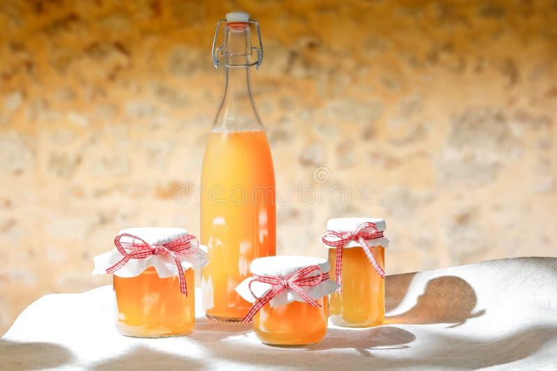A geleia caseiro range a garrafa do suco fotografia de stock