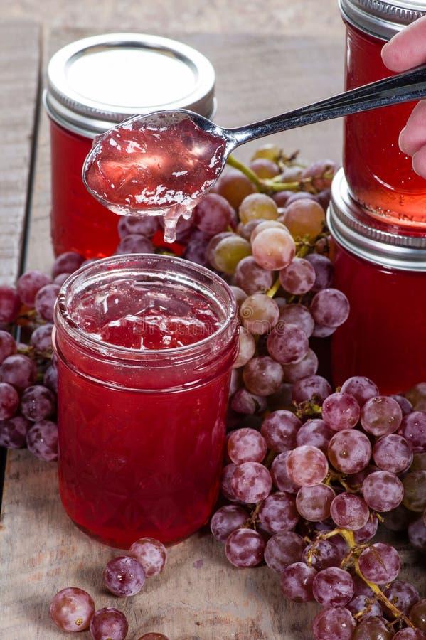 Geleia de uva com grupos de uvas foto de stock