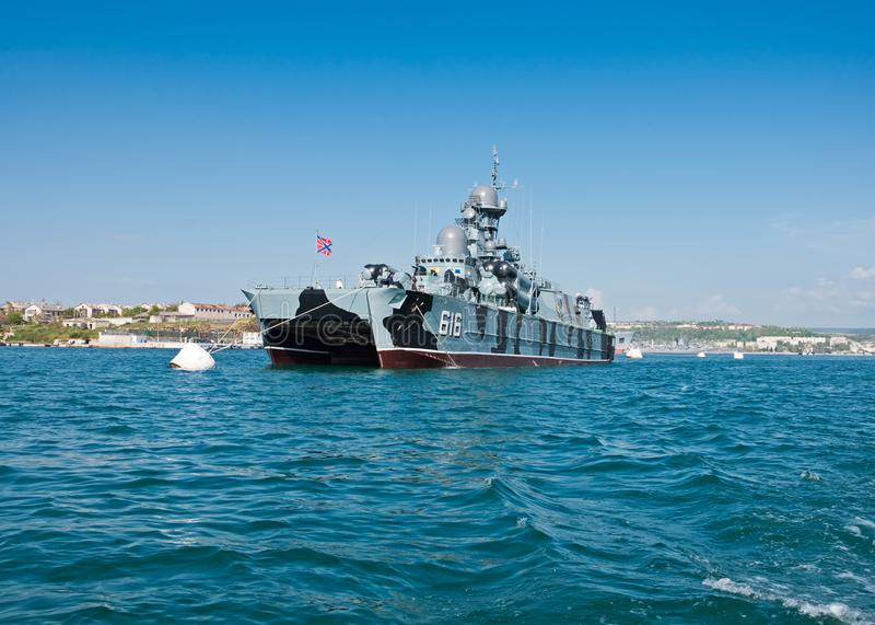 Geleid projectielkorvet ` Samum `, Schip van de Vloot van de Zwarte Zee van de Russische Marine stock afbeelding