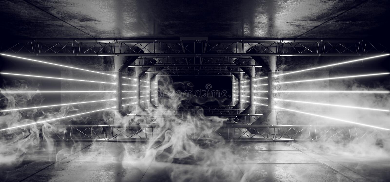Geleide de Laser Witte Gloeiende Donkere Lichte Lijnen van FI van rook Vreemde Sc.i Neon in Futuristische Moderne van de Tunnelgr stock foto