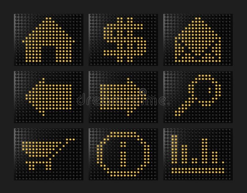 Geleide effect pictogrammen die door ballen worden gevormd vector illustratie