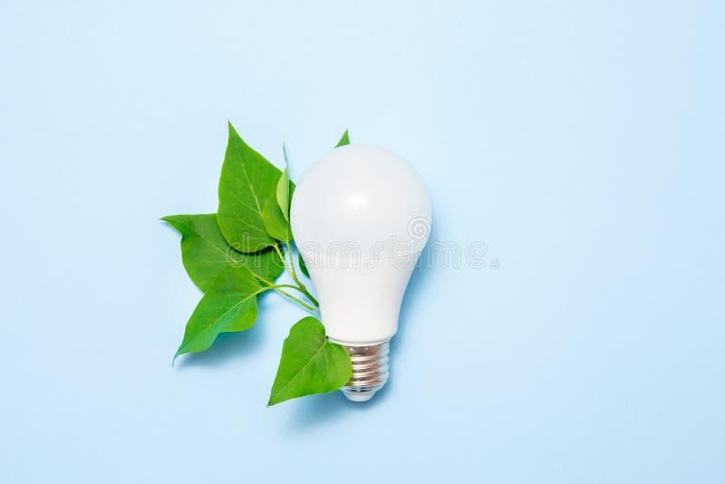 Geleide lamp met bladeren op een blauwe achtergrond Groen energierendementconcept Hoogste mening stock foto's