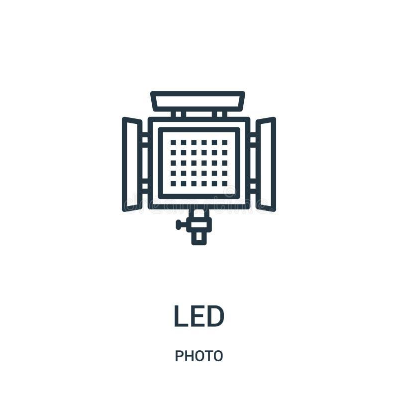 geleide pictogramvector van fotoinzameling De dunne lijn leidde de vectorillustratie van het overzichtspictogram Lineair symbool  stock illustratie