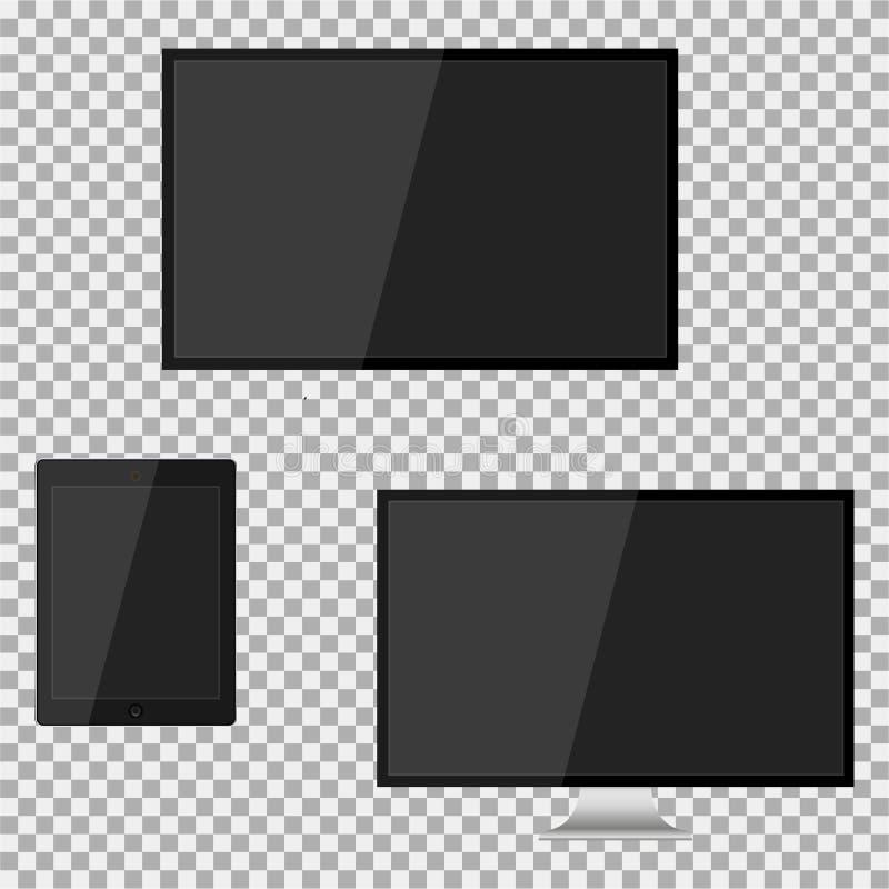 Geleide reeks van het realistische moderne lege scherm lcd, TV, monitor, stootkussen op isolate achtergrond Vector illustratie stock illustratie
