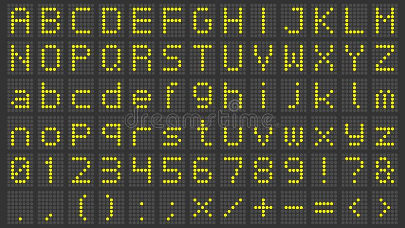Geleide vertoningsdoopvont Digitaal scorebordalfabet, elektronische tekenaantallen en de brieven vectorreeks van het luchthaven e vector illustratie