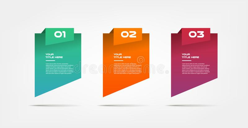 Geleidelijke gradiëntinfographics Element van grafiek, grafiek, diagram met 3 opties - delen, processen, chronologie stock illustratie