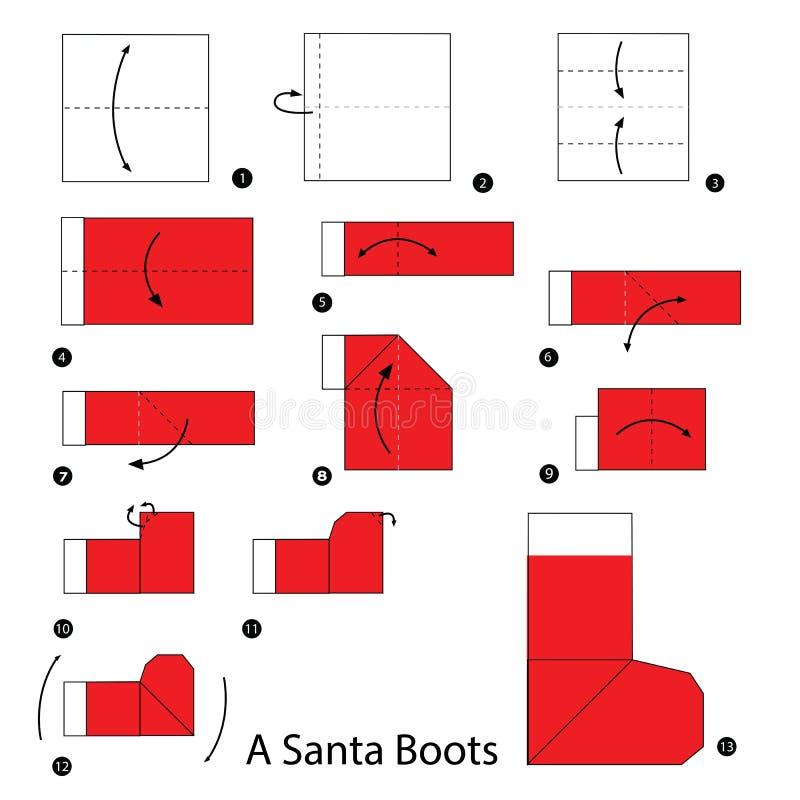 Geleidelijke instructies hoe te om de laars van origamia santa te maken stock illustratie