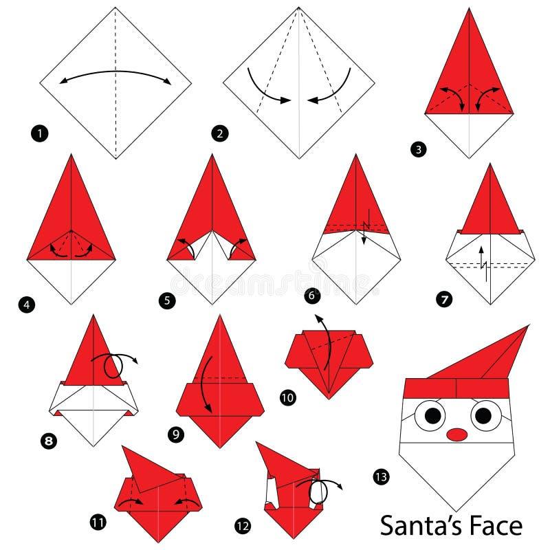 geleidelijke instructies hoe te om origami Santa Face te maken vector illustratie