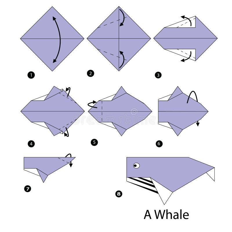 Geleidelijke instructies hoe te om origamiwalvis te maken vector illustratie