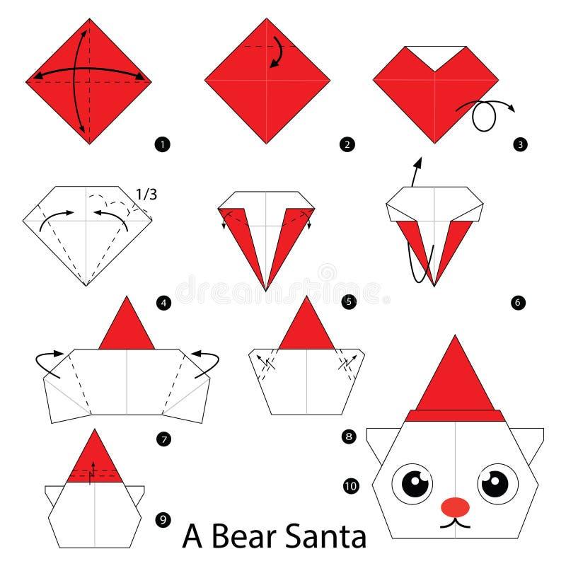 Geleidelijke instructies hoe te om tot origami een Beerkerstman te maken stock illustratie