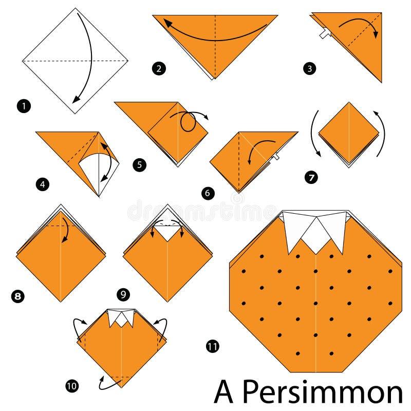 Geleidelijke instructies hoe te om tot origami een Dadelpruim te maken stock illustratie