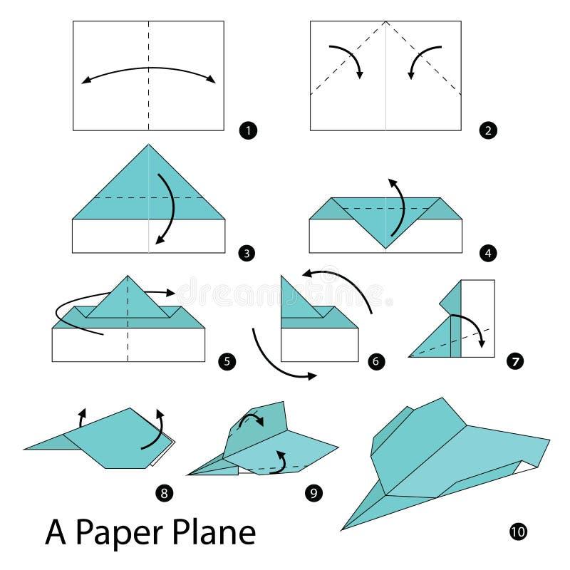 geleidelijke instructies hoe te om tot origami een document vliegtuig te maken vector. Black Bedroom Furniture Sets. Home Design Ideas
