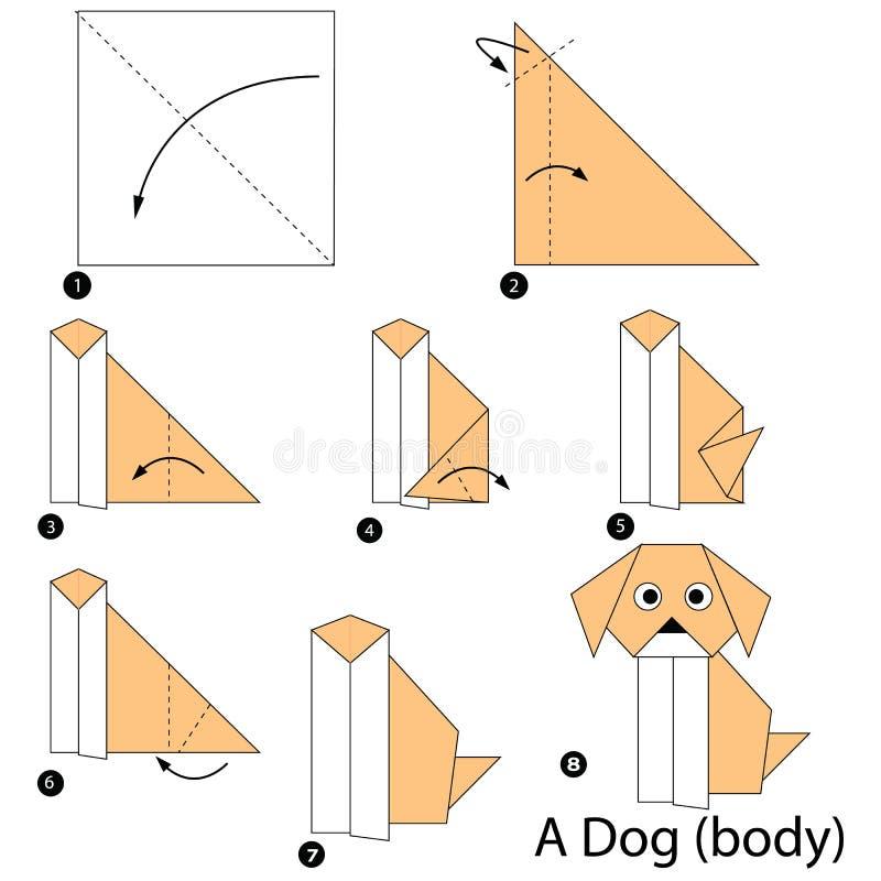 Geleidelijke instructies hoe te om tot origami een Dogbody te maken vector illustratie