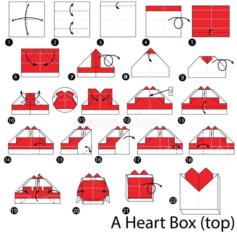 Geleidelijke instructies hoe te om tot origami een Hartdoos te maken stock illustratie