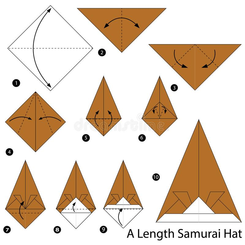 Geleidelijke instructies hoe te om tot origami een Hoed van Lengtesamoeraien te maken vector illustratie