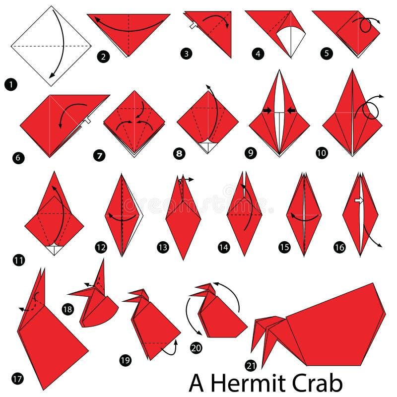 Geleidelijke instructies hoe te om tot origami een Kluizenaarkrab te maken royalty-vrije illustratie