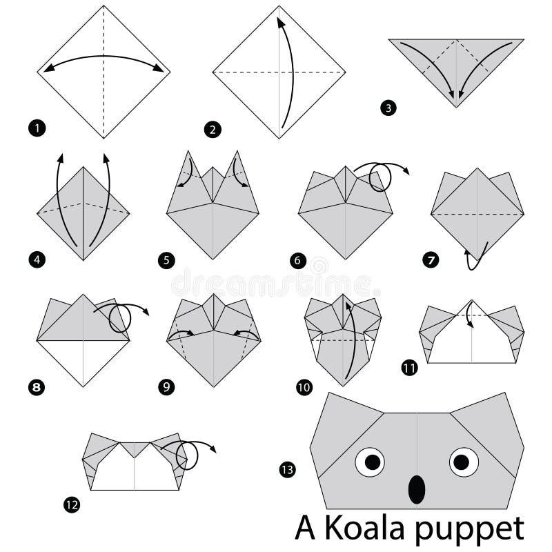 Geleidelijke instructies hoe te om tot origami een Koalamarionet te maken vector illustratie