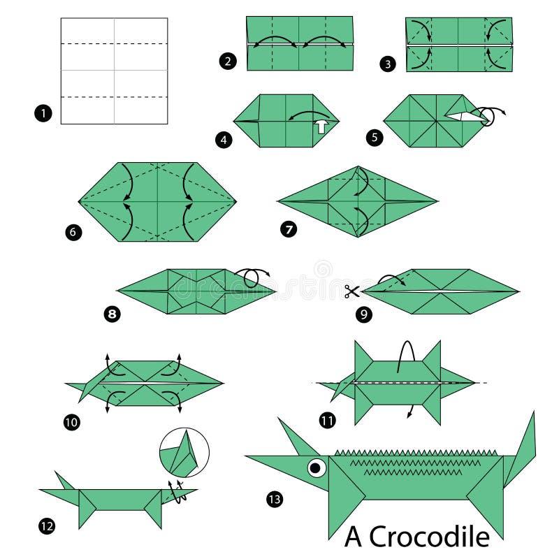 Geleidelijke instructies hoe te om tot origami een Krokodil te maken stock illustratie