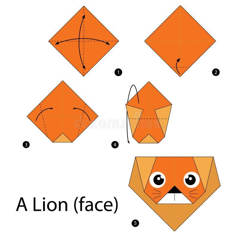 Geleidelijke instructies hoe te om tot origami een Leeuw te maken vector illustratie