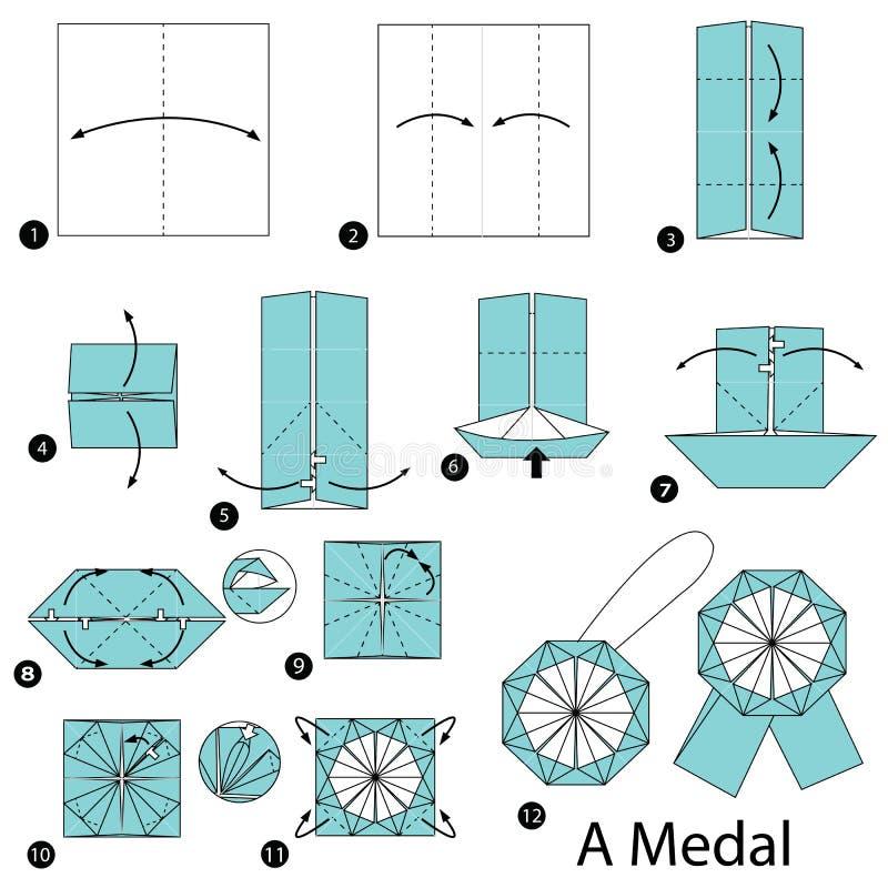 Geleidelijke instructies hoe te om tot origami een Medaille te maken vector illustratie