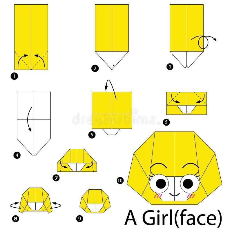 Geleidelijke instructies hoe te om tot origami een Meisjesgezicht te maken royalty-vrije illustratie
