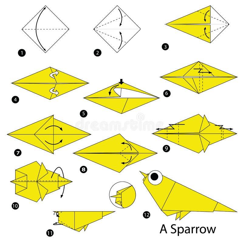 Geleidelijke instructies hoe te om tot origami een Mus te maken stock illustratie