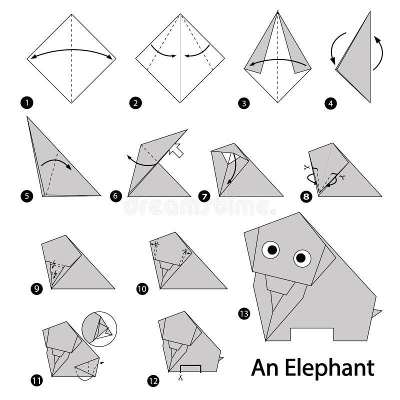 Geleidelijke instructies hoe te om tot origami een Olifant te maken royalty-vrije illustratie