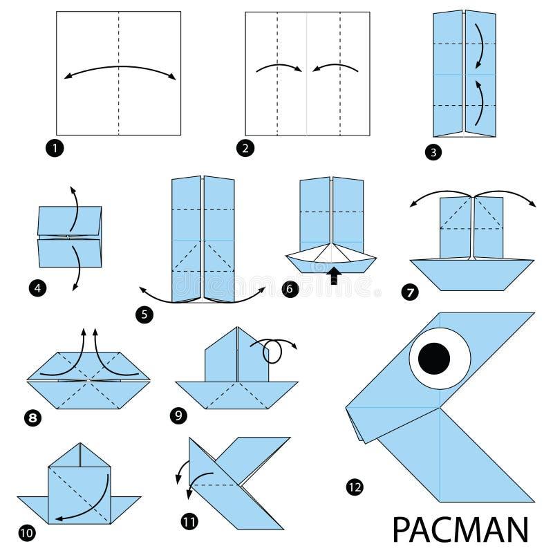 Geleidelijke instructies hoe te om tot origami een Pacman te maken royalty-vrije illustratie