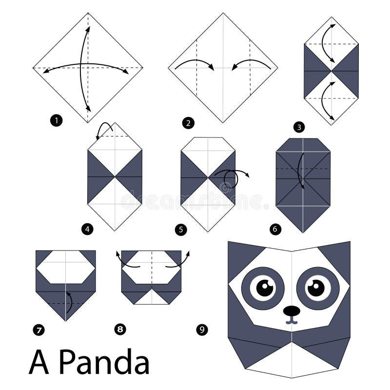 Geleidelijke instructies hoe te om tot origami een Panda te maken stock illustratie
