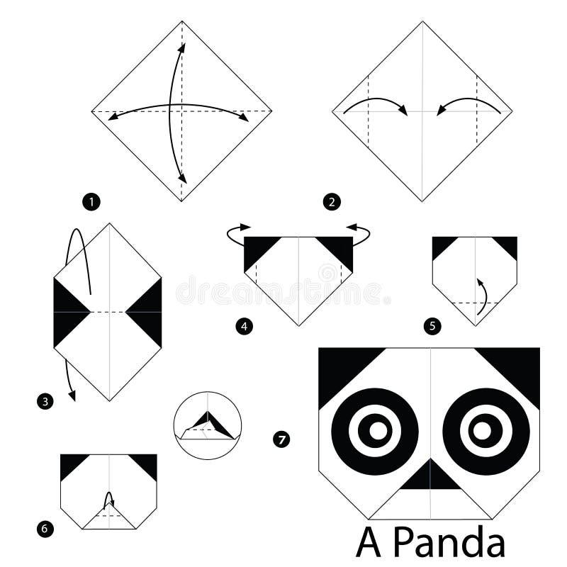 Geleidelijke instructies hoe te om tot origami een Panda te maken vector illustratie