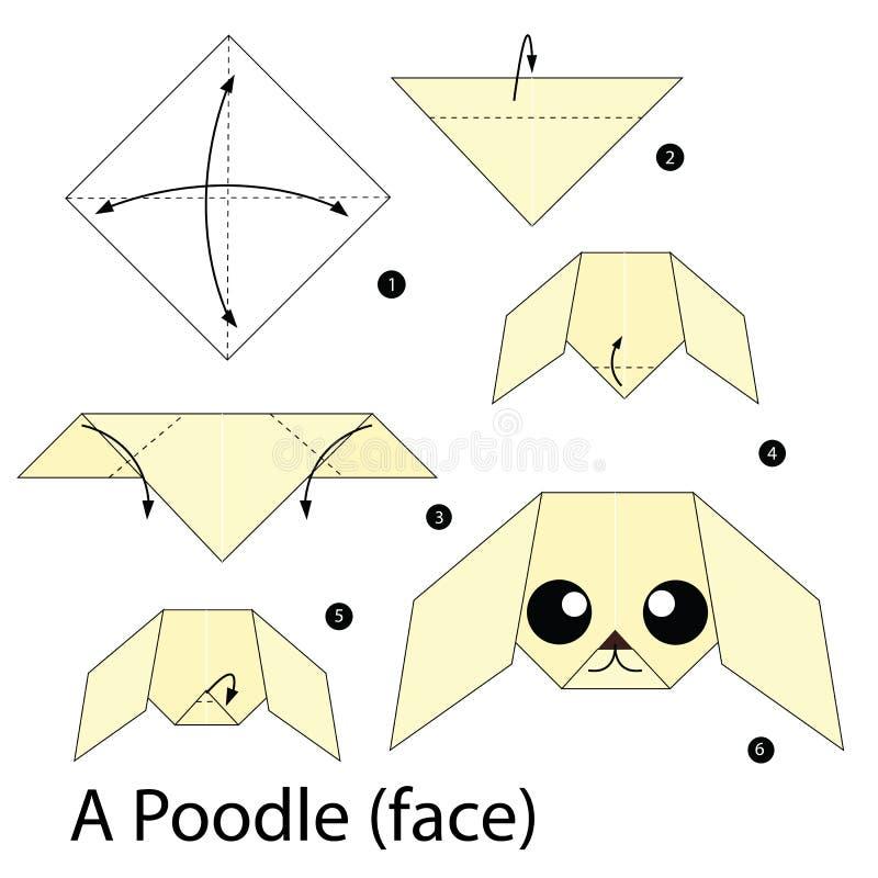 Geleidelijke instructies hoe te om tot origami een Poedel te maken stock illustratie