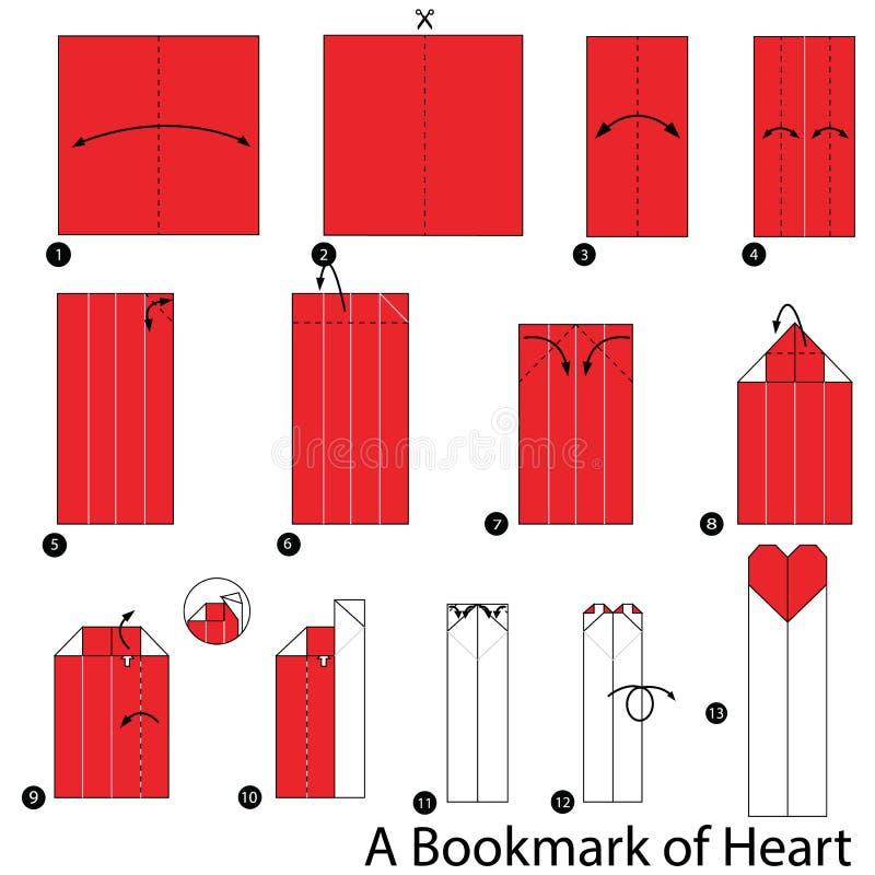 Geleidelijke instructies hoe te om tot origami een Referentie van Hart te maken stock illustratie