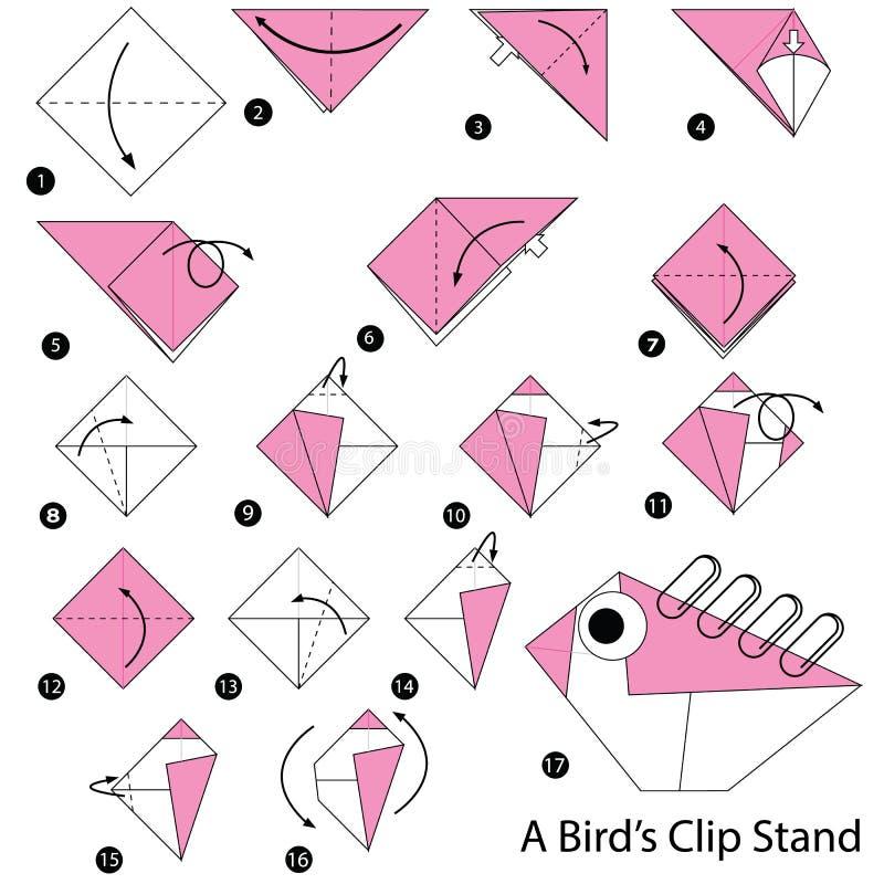 Geleidelijke instructies hoe te om tot origami een Tribune van de Vogelsklem te maken stock illustratie