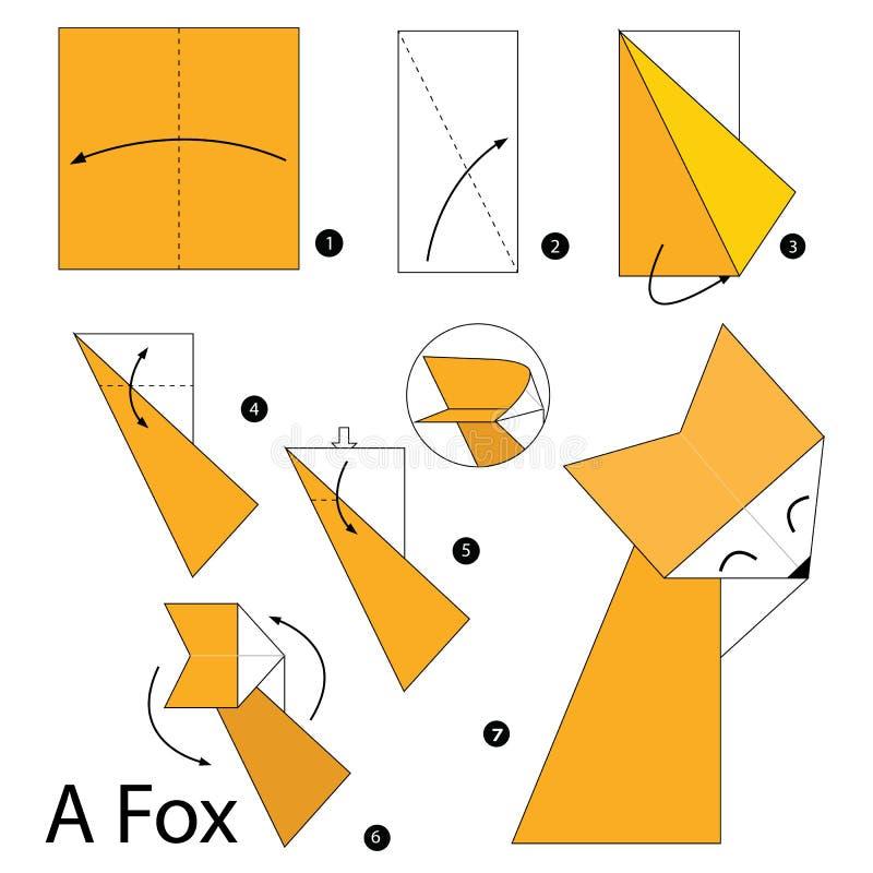 Geleidelijke instructies hoe te om tot origami een Vos te maken royalty-vrije illustratie