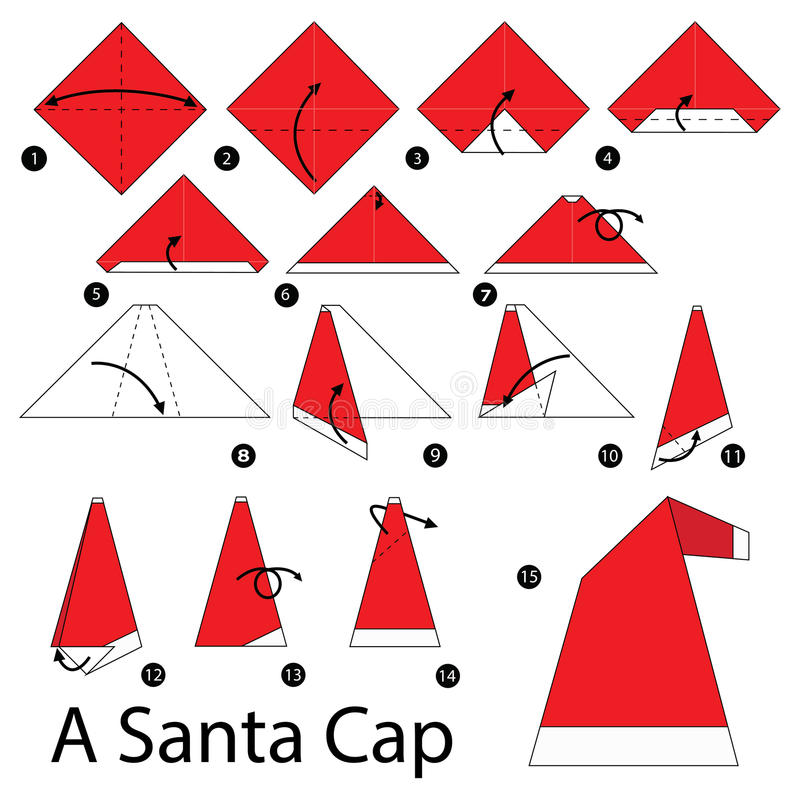 Geleidelijke instructies hoe te om tot origami Santa Cap te maken stock illustratie
