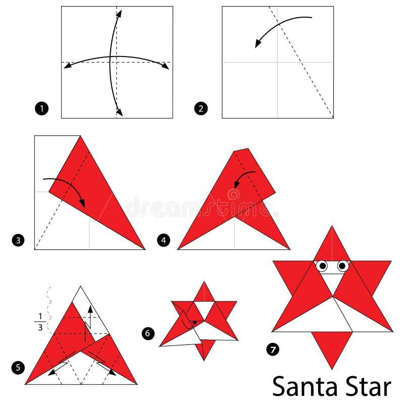 geleidelijke instructies hoe te om tot origami Santa Star te maken vector illustratie
