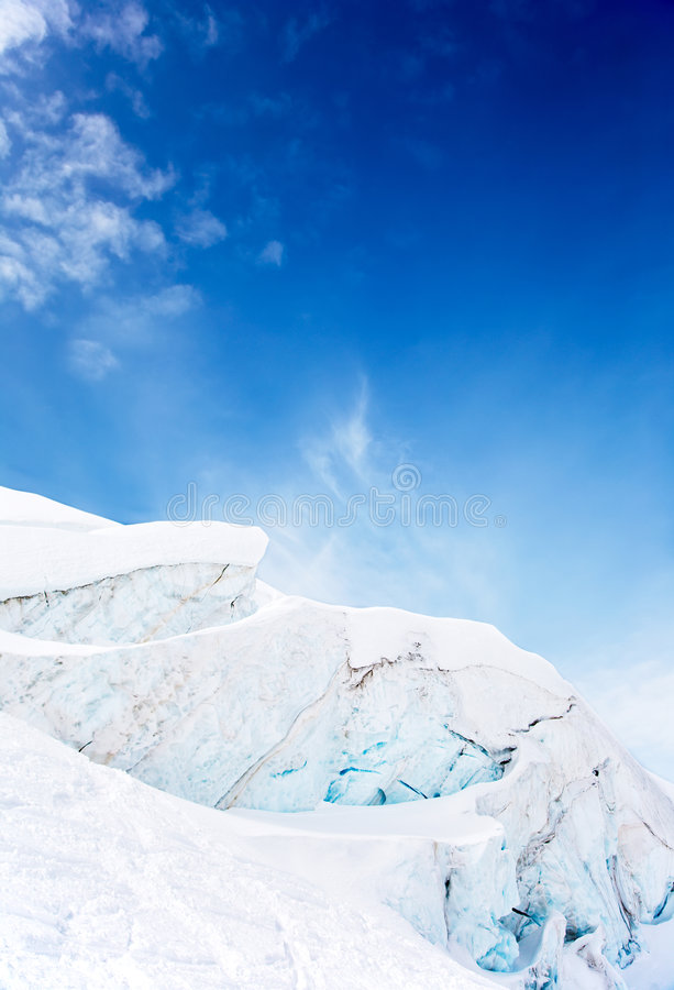 Geleira da montanha alta imagem de stock