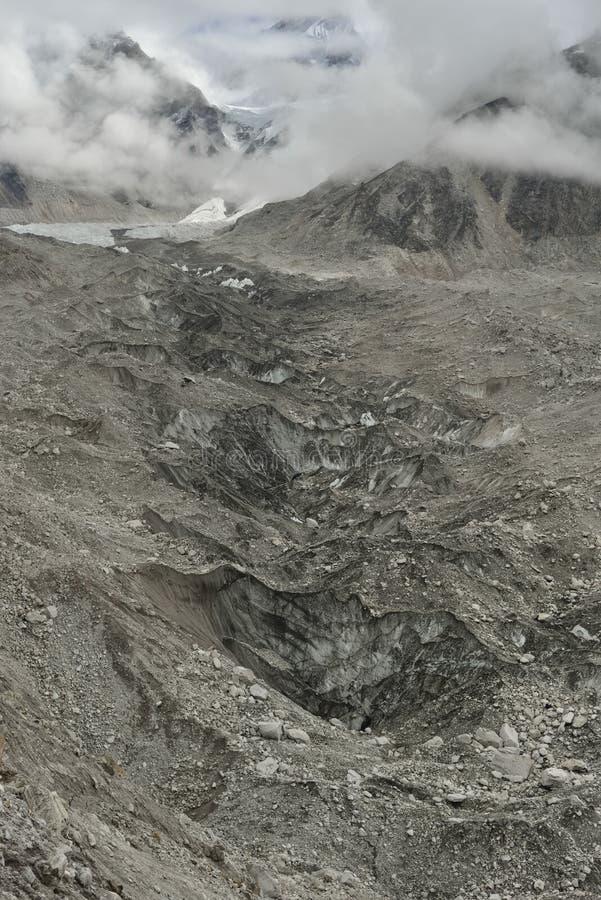 Geleira de Khumbu em Himalaya nepal fotografia de stock