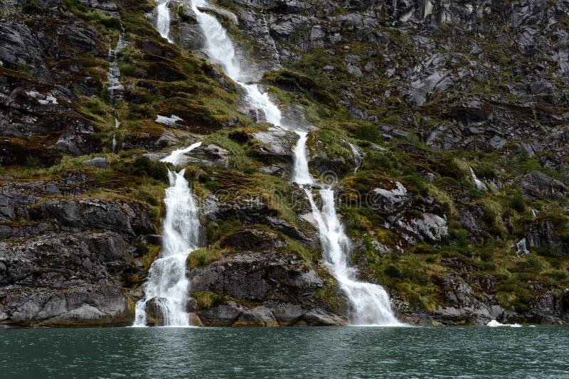 Geleira de Nena das cachoeiras no arquipélago de Tierra del Fuego foto de stock