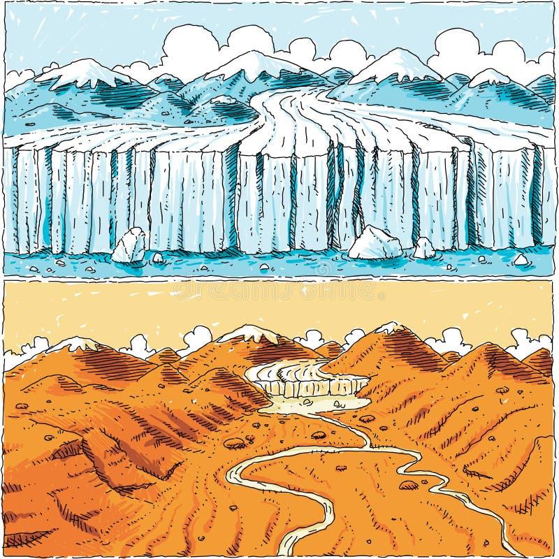 Geleira do aquecimento global ilustração do vetor
