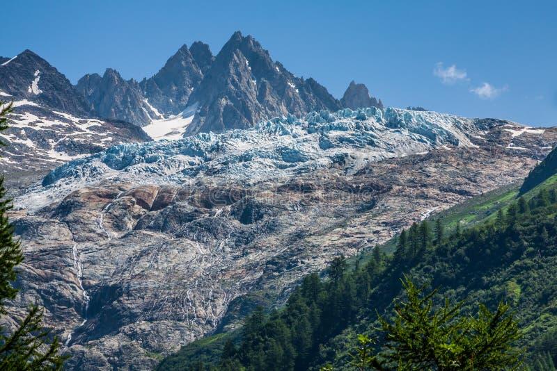 Geleira du Visita na beira do suíço francês do abo de Mont Blanc imagem de stock royalty free