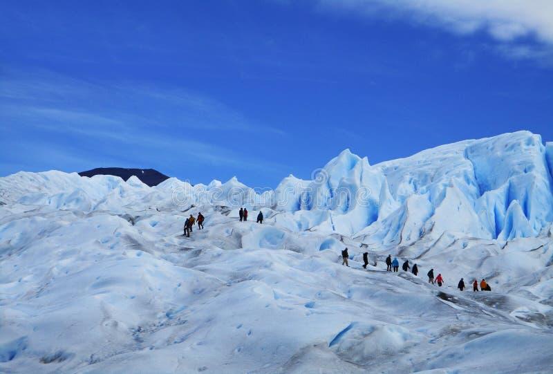 Geleira grande do gelo que caminha turistas, Perito Moreno Argentina fotos de stock