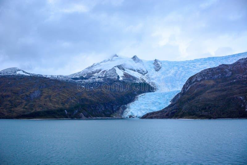 Geleira Italia em Tierra del Fuego, canal do lebreiro, Alberto de Agostini National Park no Chile fotos de stock royalty free